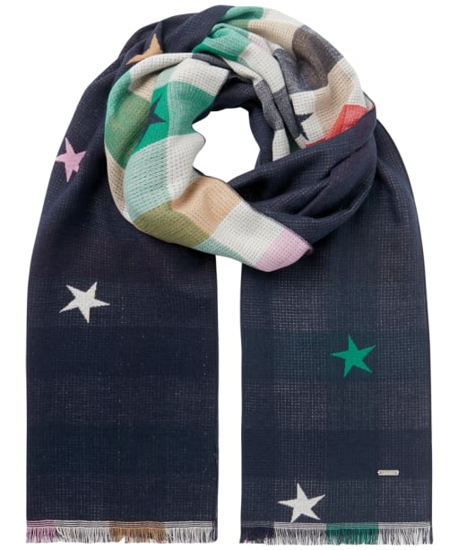 Women's Joules Farnsley Scarf - Navy Gingham Star