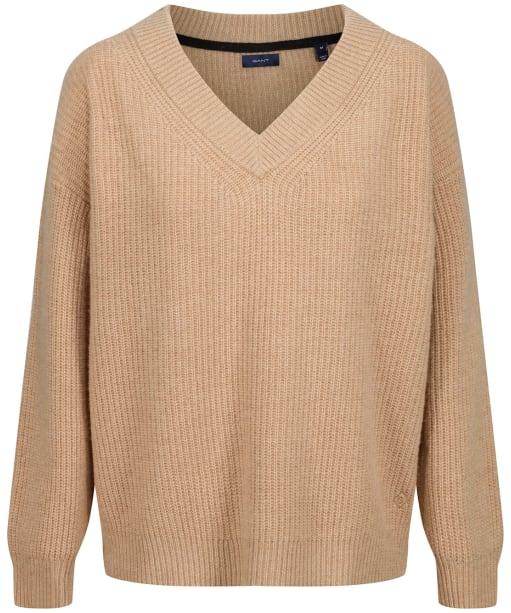 Women's Gant Wool Rib V-Neck Sweater - Khaki Melange