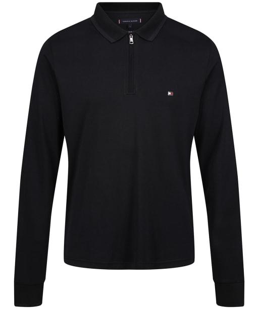Men's Tommy Hilfiger Zip Interlock Slim LS Polo Shirt - Black