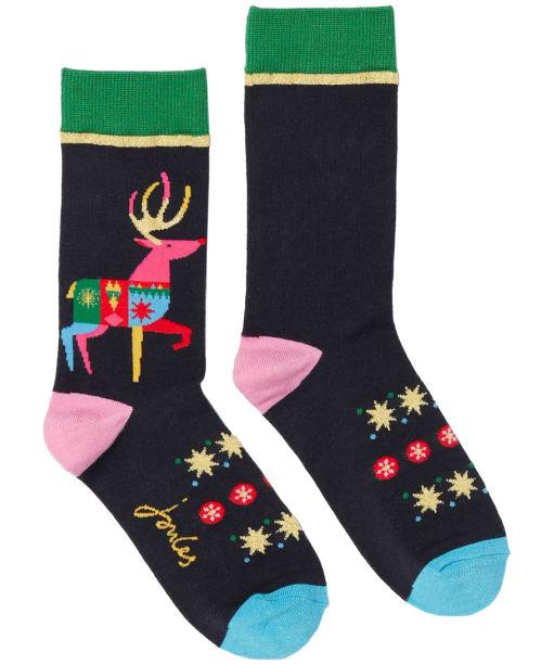Women's Joules Christmas Single Socks - Navy Reindeer