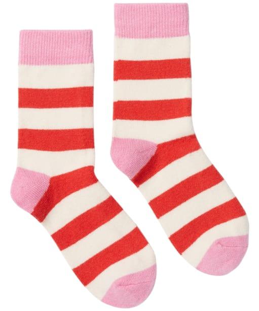 Women's Joules Striped Bed Socks - Red Arrow