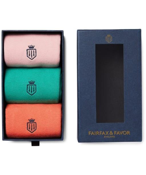 Women's Fairfax & Favor Signature Knee High Sock Set - 3 Pack - Jade / Coral / Pink
