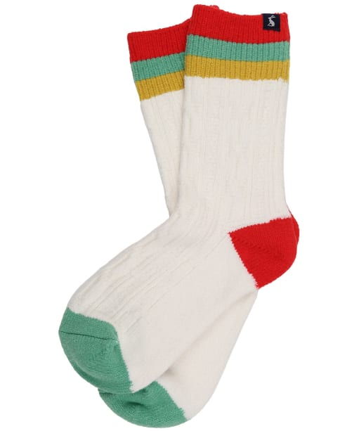 Women's Joules Cable Trussell Socks - Cream