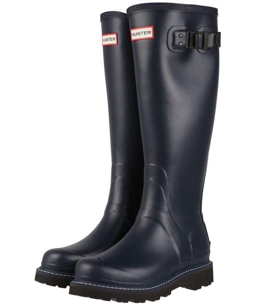 Women's Hunter Balmoral Commando Sole Boots – Tall - Navy / Peppercorn