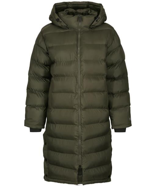 Women's Tentree Cloud Shell Long Puffer Coat - Black Olive Green