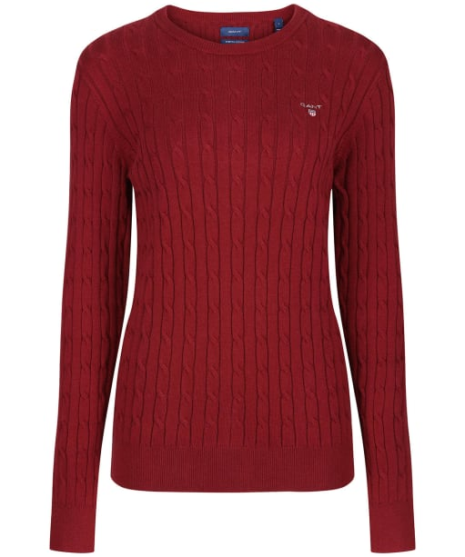 Women's GANT Stretch Cotton Cable Sweater - Cabernet Red