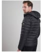 Men's Barbour Ouston Hooded Quilted Jacket - Black