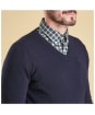 Men's Barbour Essential Lambswool V Neck Sweater - Navy