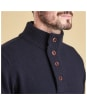 Men's Barbour Patch Half Button Lambswool Sweater - Navy