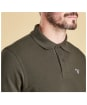 Men's Barbour Tartan Pique Polo Shirt - Forest Green