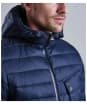 Men's Barbour Ouston Hooded Quilted Jacket - Navy