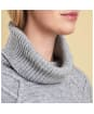 Women's Barbour Court Roll Collar Sweater - Light Grey Marl