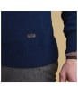 Men's Barbour Patch Half Button Lambswool Sweater - Deep Blue