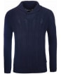 Men's Barbour Galloway Cable Shawl Sweater - Navy