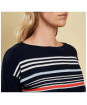 Women's Barbour Whitby Knitted Sweater - Navy / Cloud / Signal Orange