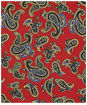 Men's Soprano Paisley Silk Pocket Square - Red