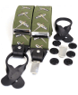 Men's Soprano Flying Pheasants 35mm Leather End Braces - Green