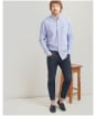 Men's Joules Linen Classic Shirt - Blue Houndstooth