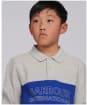 Boy's Barbour International Bold L/S Polo Shirt - Grey Marl