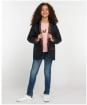 Girl's Barbour Hooded Beadnell Wax Jacket – 6-9yrs - Royal Navy / Fuchsia