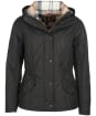 Women's Barbour Millfire Quilted Jacket - BLACK/HESSIAN