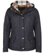 Women's Barbour Millfire Quilted Jacket - NAVY/HESSIAN
