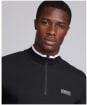 Men's Barbour International Tipped Quarter Zip Sports Polo - Black